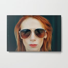 Red Hair Don't Care Metal Print
