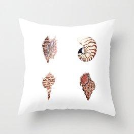 4 SEASHELLS Throw Pillow