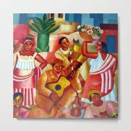 Um Pais Tropical (Spanish Guitar and Basket of Flowers) by Emiliano di Cavalcanti Metal Print