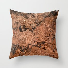 deep woods redwood marble Throw Pillow