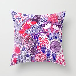 Floral Jungle Purple Throw Pillow
