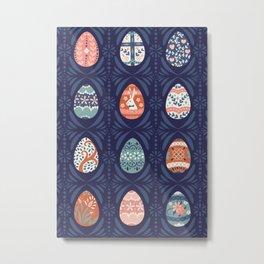 Ornate Easter Eggs on Blue Metal Print