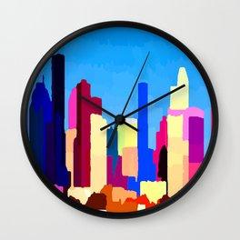Houston Texas Skyline by Jon Baran Wall Clock