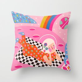 Long distance love Throw Pillow