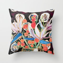 Lions and Tigers Dark Floral Still Life Painting Throw Pillow
