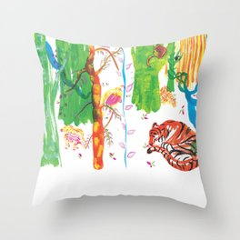 snoozing tiger with friends Throw Pillow