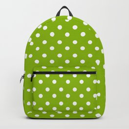 Small White & Apple Green Spring Polka Dot Pattern Backpack