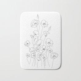 Poppy Flowers Line Art Bath Mat