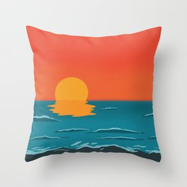 Sunset with waves Throw Pillow
