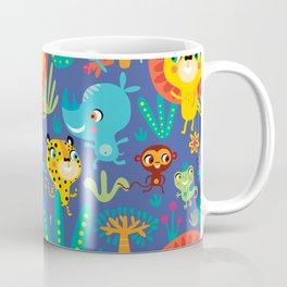 Kids Jungle Animals Monkey Lion Rhino Leopard Pattern Coffee Mug