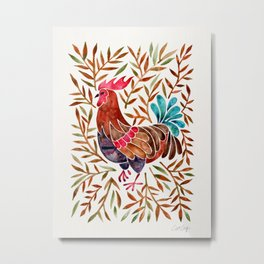 Le Coq – Watercolor Rooster with Sepia Leaves Metal Print