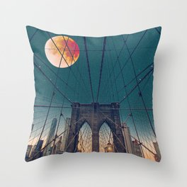 Blood Moon over the Brooklyn Bridge and New York City Skyline Throw Pillow