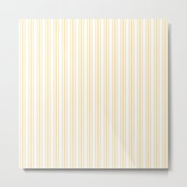 Trendy Large Buttercup Yellow Pastel Butter French Mattress Ticking Double Stripes Metal Print