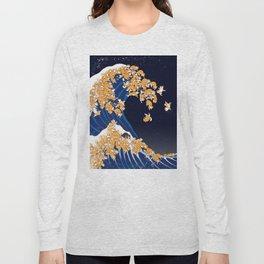 Shiba Inu The Great Wave in Night Long Sleeve T-shirt