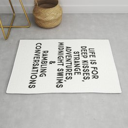 Life Is For Deep Kisses, Black and White Palette Rug