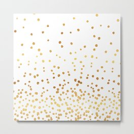 Floating Dots - Gold on White Metal Print