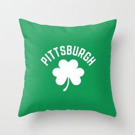 Pittsburgh Shamrock St Patricks Day Irish Green Pennsylvania Throw Pillow