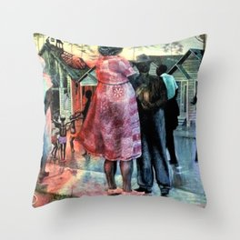 African American Masterpiece 'Shot gun, 3rd Ward' by J. Biggers Throw Pillow