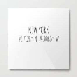 New York Coordinates Metal Print