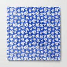 White lotus flower pattern on blue backgroud Metal Print