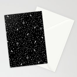 Black Space Theme Stationery Cards