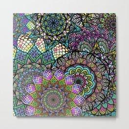 Colorful Floral Mandala Pattern with Geometric Drawings Metal Print