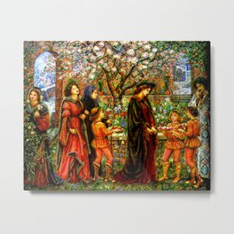 The Enchanted Garden of Messer Ansaldo - Marie Spartali Stillman Metal Print