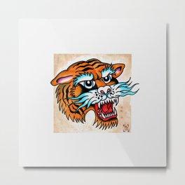 Fierce Tiger - Traditional Tattoo Design Metal Print