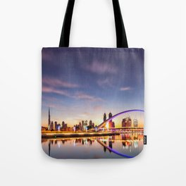 Beautiful Dubai Water Canal Bridge And City Skyline At Romantic Evening Red Reflection Ultra HD Tote Bag