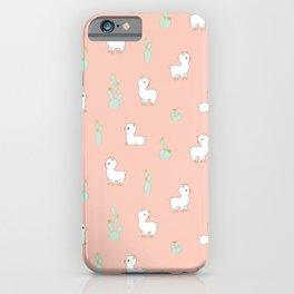 cactus and alpaca pattern iPhone Case