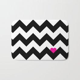 Heart & Chevron - Black/Pink Bath Mat