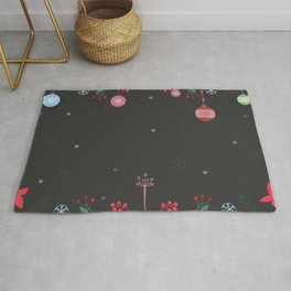 Pattern with ornaments, deer, snowflakes Rug