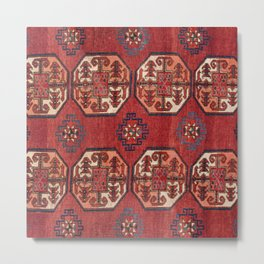 Orange Red Turkestan Medallions 19th Century Authentic Colorful Geometric Vintage Patterns Metal Print