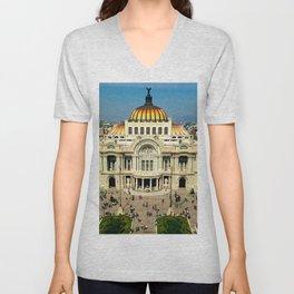 Mexico, Df, Museum, Fine Arts, Architecture, Landscape. Beautiful city photo. Urban art. Vintage style. Illustration. Unisex V-Neck