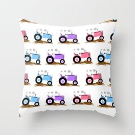 Pink Purple Farm Tractor Girl Throw Pillow