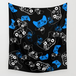 Video Game Blue on Black Wall Tapestry