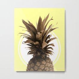 Pineapple Print - Tropical Poster - Botanical Print - Pineapple Wall Art - Yellow, Golden - Minimal Metal Print