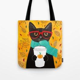 Autumn Black Coffee Cat Tote Bag