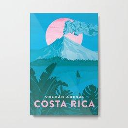 Costa Rica, Volcano Arenal Vintage Travel Poster Metal Print