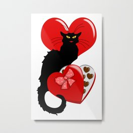 Le Chat Noir with Chocolate Candy Gift Metal Print