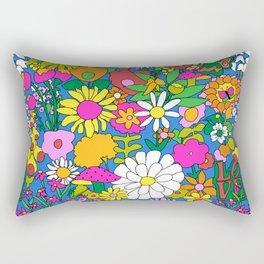 60's Groovy Garden in Blue Rectangular Pillow