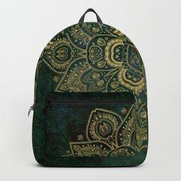 Golden Flower Mandala on Dark Green Backpack