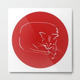 Relaxing Cat in red circle Metal Print