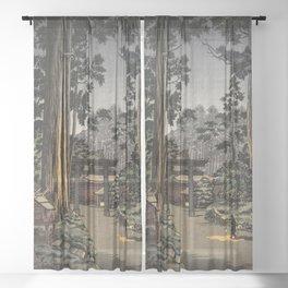 Tsuchiya Koitsu - Nikko Futarasan Temple - Japanese Vintage Woodblock Painting Sheer Curtain