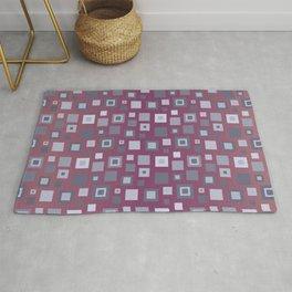 Grey Retro Square Pattern Rug