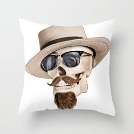 Hipster Skull Throw Pillow