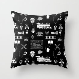 Railroad Symbols on Black Throw Pillow