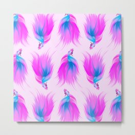 Artsy Girly Neon Pink Blue Hand Painted Betta Fish Pattern Metal Print