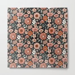 70s flowers - 70s, retro, spring, floral, florals, floral pattern, retro flowers, boho, hippie, earthy, muted Metal Print