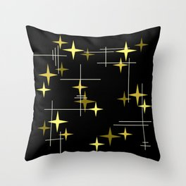 Mid Century Modern Stars Black Yellow Throw Pillow